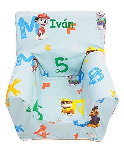 Sillón o Asiento Infantil Personalizado de Espuma para bebés y niños. Varios Modelos y Colores Disponibles. (Patrulla Canina)