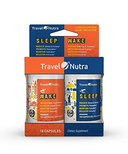 TravelNutra Jet Lag Prevention Dietary Supplement Sleep & Wake Combo Pack, 36 Capsules