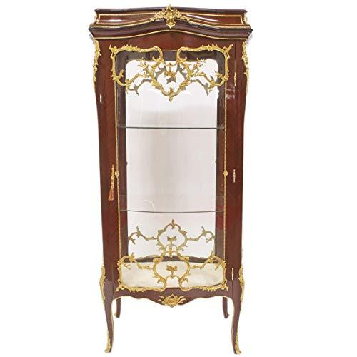 Casa Padrino Barock Glas Vitrine Vitrinenschrank - Barock Möbel - Vitrinenschrank 74 x 63 x H 174 cm - Wohnzimmerschrank Schrank Mahagoni/Gold