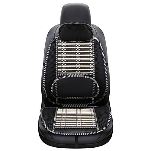 Cojín ergonómico de bambú para asiento de coche, asiento de coche, silla de oficina, cojín con funda de viruta de bambú, cojín de soporte de malla negro fresco transpirable para coche para alivio (B)