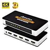 AMANKA HDMI Splitter / Ripartitore 1x4 Distributore Segnale a 4 vie, Supporta 4K UHD 3D ,Sdoppiatore HDMI 1 Entrata 4 Esporta per HDTV STB PS3 DVD Multmedia PC Ect, Alluminio