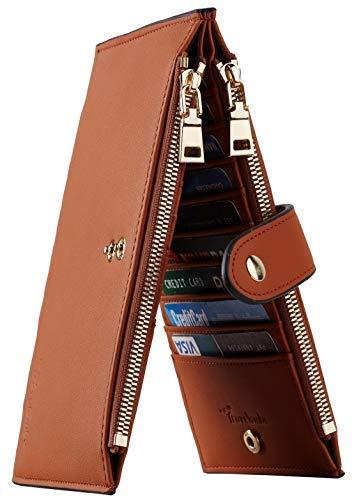 Travelambo Womens Walllet RFID Blocking Bifold Multi Card Case Wallet with Zipper Pocket Genuine Leather (Tan) Hawaii
