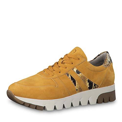 Tamaris Damen Schnürhalbschuhe 23741-23, Frauen sportlicher Schnürer, Halbschuh schnürschuh strassenschuh Sneaker Lady,Mustard/Snake,41 EU / 7.5 UK