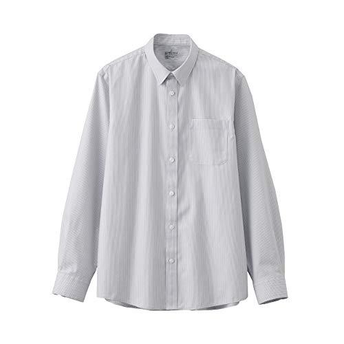 無印良品 アイロンがけのいらないシャツ 紳士M グレーストライプ 44329634