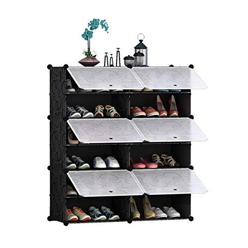 hkwshop Zapatero Rack de Zapatos Entrelazado Organizador de Almacenamiento Rectangular Modular Almacenamiento Modular Unidad de Estante con Puertas Zapato Multifuncional. Organizador para Zapatos