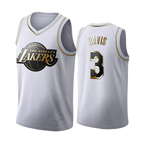 Gsaknc # 3 Lakers Davis Basketballtrikot, Klassische Retro-Stickversion des Fan-Trikots, bequemes und atmungsaktives Material können für das Training im Freien verwendet Werden