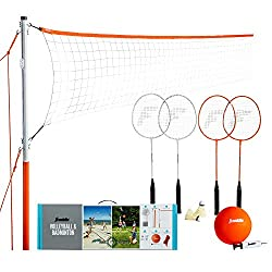 commercial Franklin Sports Volleyball & Badminton Combo Set – Portable Backyard Volleyball & Badminton Net… backyard volleyball set