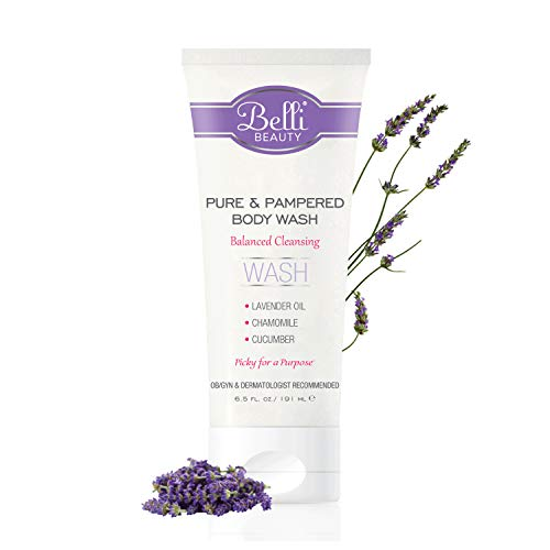 Belli Pure and Pampered Body Wash – Balanced Cleansing with Essential Oil of Lavender – OB/GYN and Dermatologist Recommended – 6.5 oz