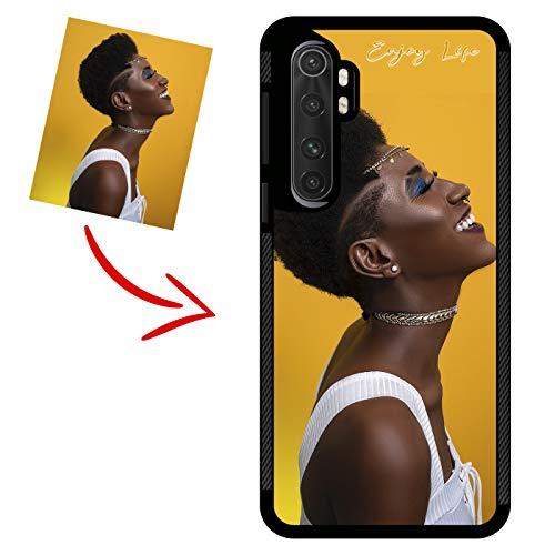 imafan Funda personalizada con tu foto con texto de nombre - Funda con borde de silicona súper resistente con antideslizante - Impresión brillante permanente - Compatible con Xiaomi Mi Note 10 Lite