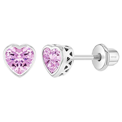 925 Sterling Silver 5mm Bezel Heart Cubic Zirconia Screw Backs for Babies to Toddlers - Pretty Heart Screw Back Earrings for Children - Kids Birthstone Simulated Pink Tourmaline Heart Stud Earrings