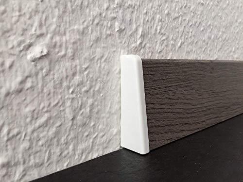 Endkappe für Sockelleisten mit Profil HR66 | Edelstahl-look 2 Stück | Endstück passend zu MDF-Leisten in verschiedenen Dekoren | Fußbodenleisten-ende silber-metallig, Abschluss-stück