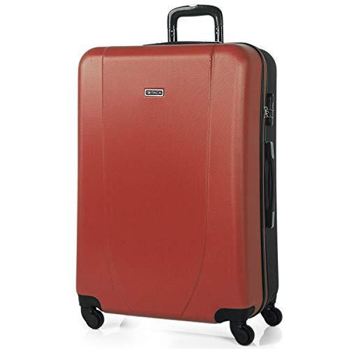 ITACA - Maleta de Viaje Grande XL Rígida 4 Ruedas Trolley 75 cm de ABS. Práctica Cómoda y Ligera. Gran Capacidad Bonito Diseño. Estudiante y Profesional. 71170, Color Coral-Antracita