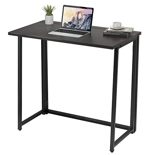 Folding Computer Desk - No Assembly Compact Writing Study Desk for Small Spaces Home Office Desk (Black)