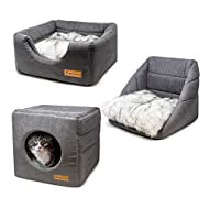 AllPetSolutions Cat Small Dog Cosy Cube Igloo Bed, 3-in-1 Foldable Grey Pet Kitten Puppy Soft Cave B...