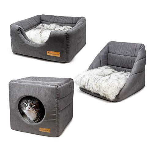 AllPetSolutions Cat Small Dog Cosy Cube Igloo Bed, 3-in-1 Foldable Grey Pet Kitten Puppy Soft Cave Bed, Machine Washable with Reversible Cushion – 35 x 35 x 35cm