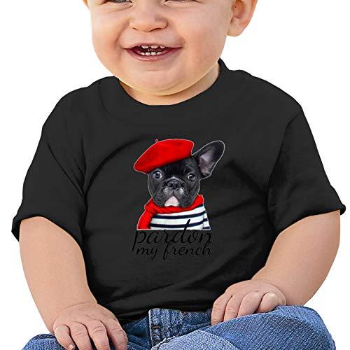 Pardon My French Bulldog Baby Short Sleeve Tops Toddler T-Shirt Blouse Crawling Clothes Black