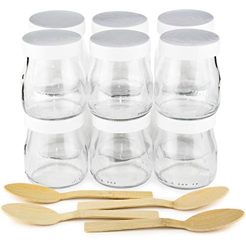 Tarros de yogur con tapa blanca pack 12 vasos de yogurt 150 ml + 4 cucharas de Bambú. Ideales como vasos para postres, recipiente para potitos y alimentos para bebé, apto para velas.