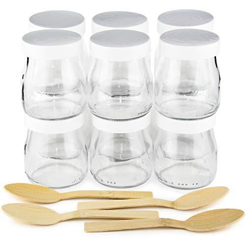 Tarros de yogur con tapa blanca pack 12 vasos de yogurt 150 ml + 4 cucharas de Bambú. Compatible como todo tipo de vasos yogurteras. Ideales tarros para postres, potitos bebé, velas.