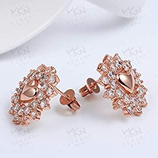 Home Stud Earrings Creative Diamond Heart Shaped Purple Gold Sun Flower Earrings Europe and America (Color : Gold) Earrings Gift (Color : Rose)