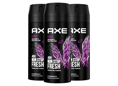 Axe Excite Deospray Set Herren 3er Pack ohne Aluminium mit effektivem Schutz vor Körpergeruch (3 x 150 ml)