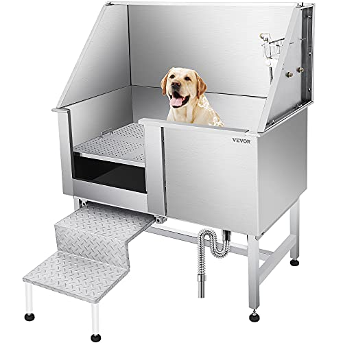 VEVOR 50 Inch Dog Grooming Tub?Professional Stainless Steel Pet Dog Bath Tub?with Steps Faucet & Accessories Dog Washing Station ?Left-Door?