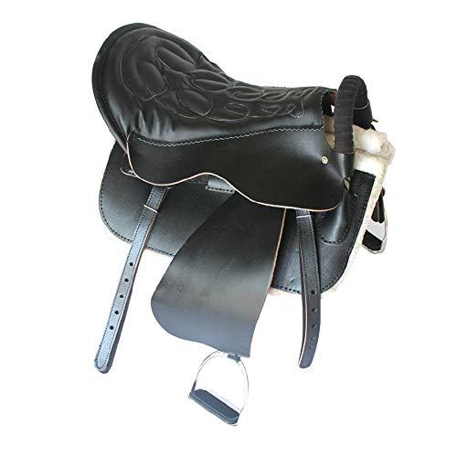 Dfghbn Pferdesattel Sattel Harness Ausrüstung Reitausrüstung Stahlskelett mit Leggins Stables Zubehör Westernsattel (Farbe : Black, Size : One Size)