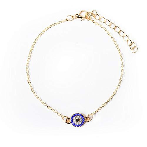 Pulsera de ojo malvado de pavo azul para mujer, brazalete de ojos de cristal de la suerte para mujer, joyería de cadena de pie, pulsera de tobillo de buena suerte chapada en oro y plata, cadena de (A)