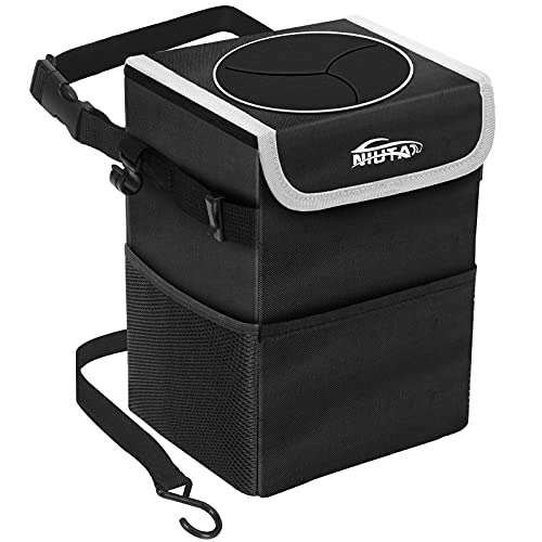Car Trash Can, NIUTA Waterproof Foldable Car Garbage Can with Lid and Side Net Pocket for Car/SUV/Truck/Minivan/Auto (Large)
