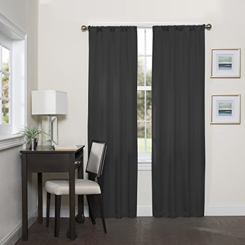 """ECLIPSE, Black Blackout Curtains for Bedroom-Darrell 37"""" x 84"""" Insulated Darkening Single Panel Rod Pocket Window Treatment Living Room"""
