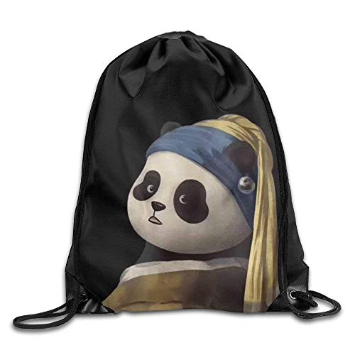 JHUIK Drawstring Bag Backpack,Panda con una Perla Pendiente Mochila con cordón Mochila Bolsos de Hombro