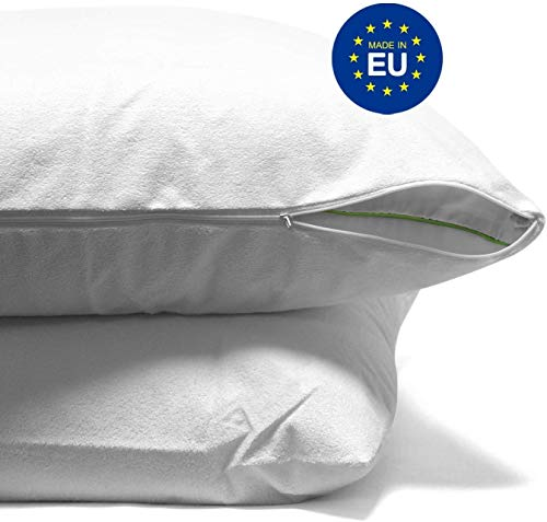 ZenPur - Pack mit 2 Kissenschutzbezügen Premium SafeDream 100% wasserdicht - hypoallergener Bezug mit Révulutionärer BioMe Anti-Baketeriell und Oeko TEX Zertifiziert, 80 x 80cm