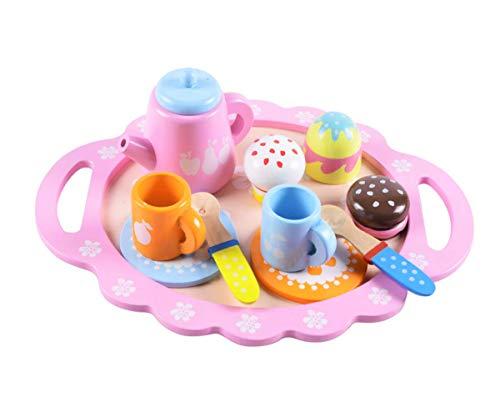B&Julian Teeservice Set Kaffeeserviece Teeset mit Kuchen Leckereien aus Holz für Kinder Rollenspiele