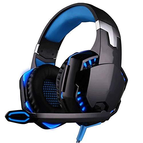 Big Shark Gaming headset surround noise-cancelling over ear gaming hoofdtelefoon met microfoon, bass surround soft-geheugen-oordopjes voor computer-laptop-switch games, blauw