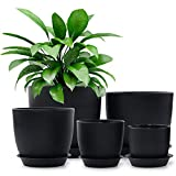 Plastic Planter, HOMENOTE 7/6/5.5/4.5/3.5 Inch Flower Pot Indoor Modern Decorative Plastic Pots for Plants with Drainage Hole and Tray for All House Plants, Succulents, Flowers, and Cactus, Black