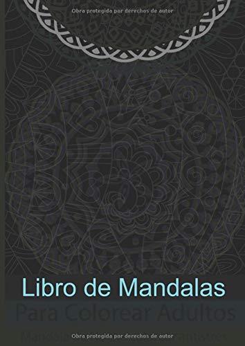 Libro de Mandalas para colorear adultos faciles fondo negro: motivos con fondo...