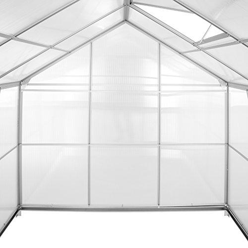 TecTake Serra da Giardino in Alluminio e policarbonato per Piante orto casetta Esterno 5,85 m³ - Modelli Differenti - (190x185x195 cm | No. 402473)