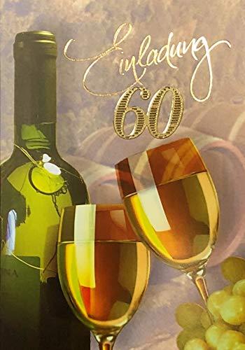 Uitnodigingskaarten 60e verjaardag vrouw man met binnentekst motief witte wijn 10 vouwkaarten DIN A6 staand met witte enveloppen in set verjaardagskaarten uitnodiging 60 verjaardag man vrouw K178