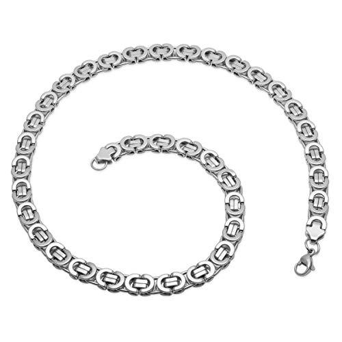 Soul-Cats® Flache Königskette/Panzerkette/Herren-Kette aus Edelstahl in Silber, Breite: 8 mm, Länge ca. 60 cm