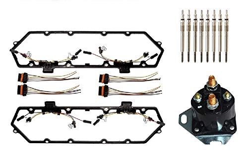 Michigan Motorsports 7.3L Valve Cover Gasket Fits 1994-1997 Diesel Powerstroke, 8 Glow Plugs, Relay, plus Injector Harness. Fits Ford 7.3L F250 F350 Superduty Econoline