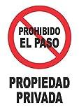 Señal propiedad privada – PVC 0,7mm – 21 x 30 cm – cartel señal prohibido