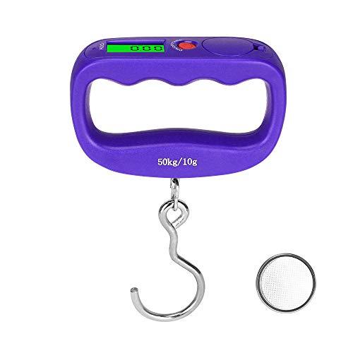 Küchenwaagen 50 kg Waage Haken Fischgewicht Mini Hängende Waage Tasche Tragbares LCD Digitales Gepäck Waage Elektronische Küchenwerkzeuge-Lila