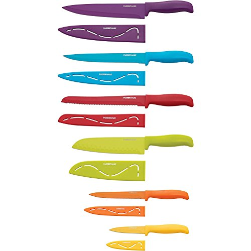 Farberware 12-Piece Non-Stick Resin Cutlery Knife Set, Multicolor