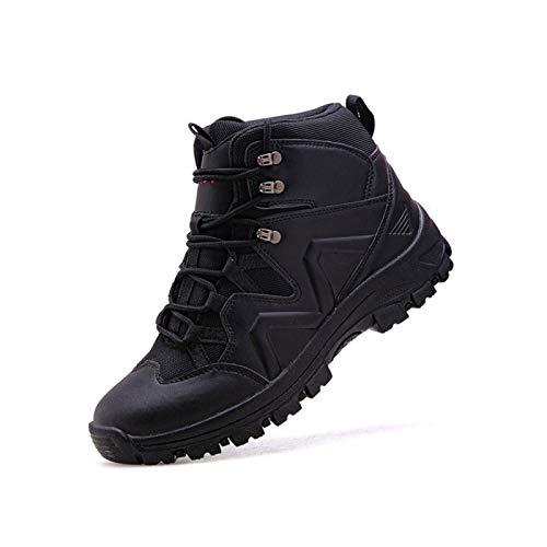 Botas De Invierno para Hombre + Plantillas Botines Tácticos De Combate En El Desierto De Fuerza Especial Zapatos De Trabajo del Ejército Botas De Nieve,Black-39