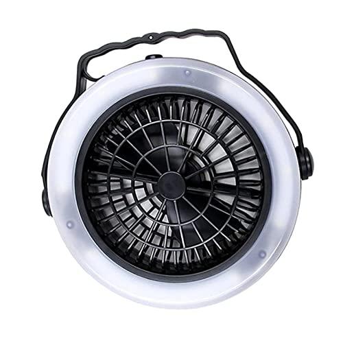 chiwanji Ventilador de Tienda con Luz de Senderismo, Linterna para Acampar, Ventilador de Escritorio Personal para RV con Gancho