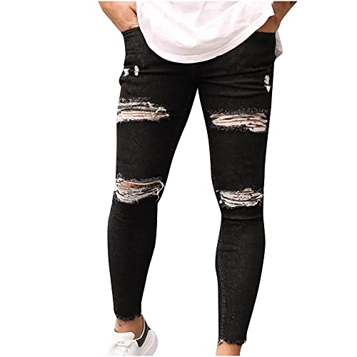 Men's Jeans with Elastic Waist Regular Fit Stretch with Elastic Waistband Cargo Pants for Men Ripped Denim Trousers