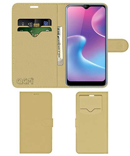 Acm Leather Window Flip Wallet Front & Back Case Compatible with Karbonn Titanium S9 Plus Mobile Cover Golden