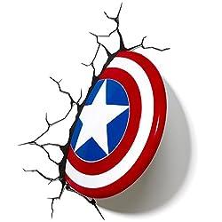 3DLightFX Marvel Avengers Captain America 3D Deco Light Red, White, Blue