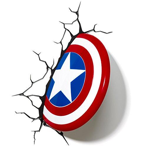 Light 816733002187 Wandleuchte Marvel Captain America-Schild von 3D FX, Rot, Weiß und Blau