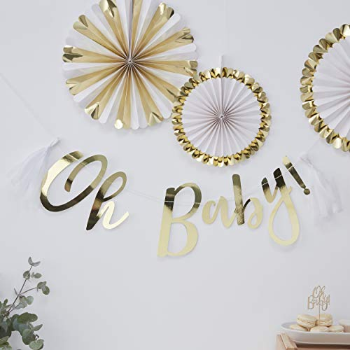 Ginger Ray Gold Foiled Oh Baby Weiße Quasten