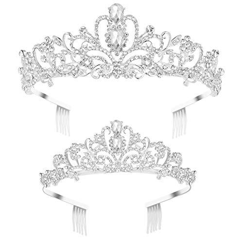 Frcolor 2 Pack Rhinestone Tiara Crown Headband, Crystal Princess Crown Tiara with Comb Wedding Bridal Birthday Party Tiaras for Women and Girls